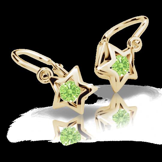 Baby earrings Danfil Stars C1942 Yellow gold, Peridot Green, Front backs
