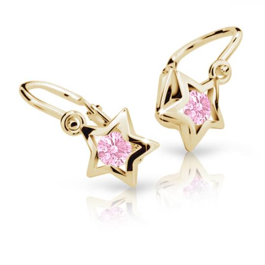 Baby earrings Danfil Stars C1942 Yellow gold, Pink, Front backs