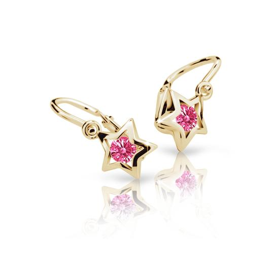Baby earrings Danfil Stars C1942 Yellow gold, Tcf Red, Front backs