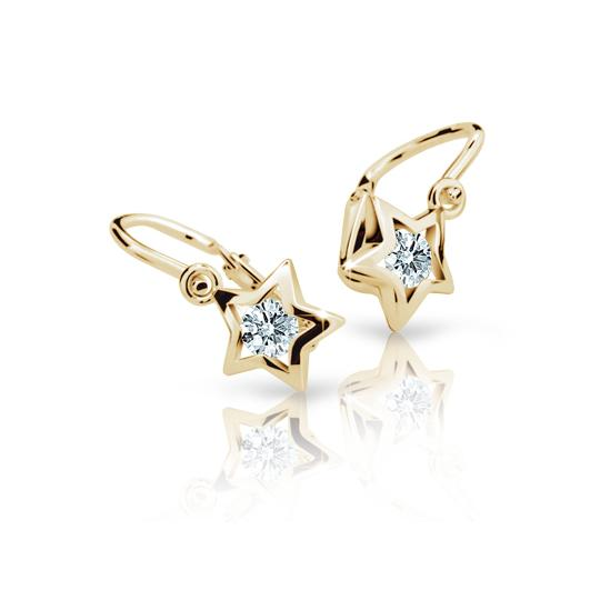 Baby earrings Danfil Stars C1942 Yellow gold, White, Front backs