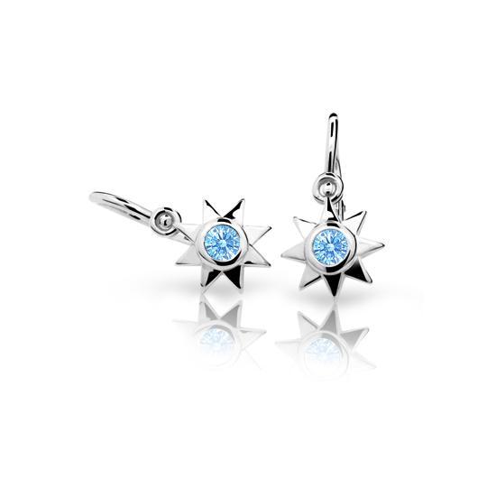 Baby earrings Danfil Stars C1995 White gold, Arctic Blue, Front backs