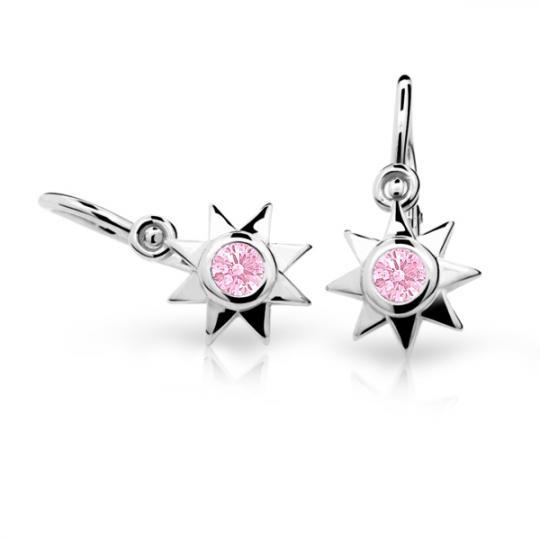 Baby earrings Danfil Stars C1995 White gold, Pink, Front backs