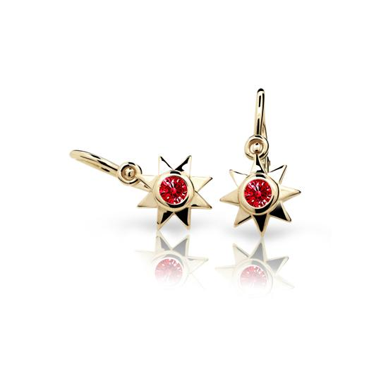 Baby earrings Danfil Stars C1995 Yellow gold, Ruby Dark, Front backs