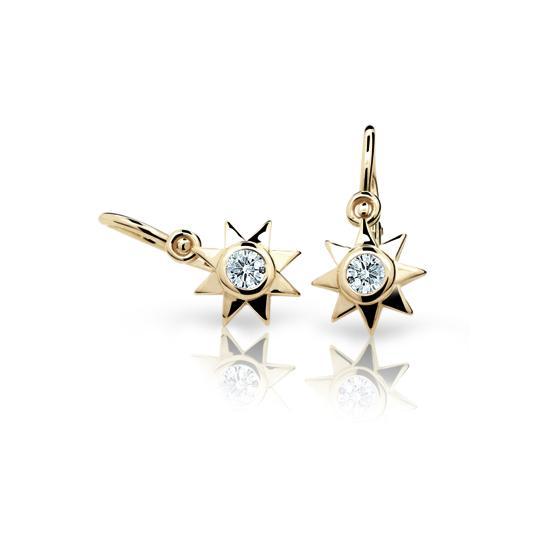 Baby earrings Danfil Stars C1995 Yellow gold, White, Front backs