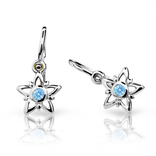 Baby earrings Danfil Stars C1996 White gold, Arctic Blue, Front backs