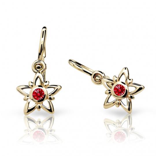 Baby earrings Danfil Stars C1996 Yellow gold, Ruby Dark, Front backs