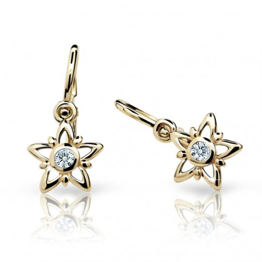 Baby earrings Danfil Stars C1996 Yellow gold, White, Front backs