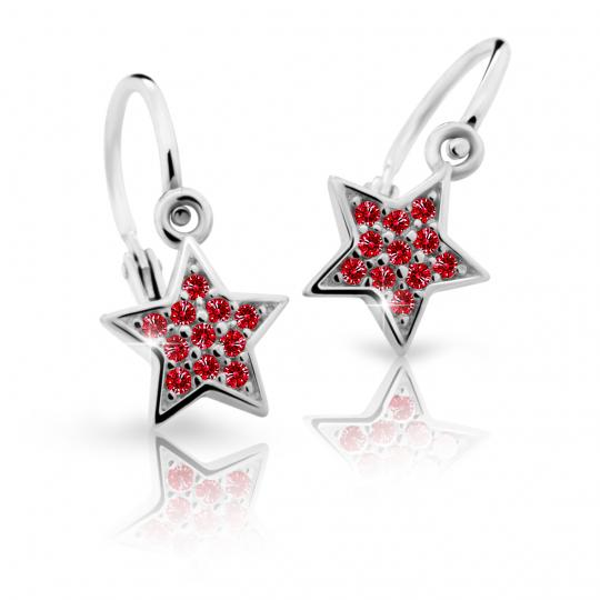 Baby earrings Danfil Stars C2228 White gold, Ruby Dark, Front backs