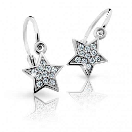 Baby earrings Danfil Stars C2228 White gold, White, Front backs
