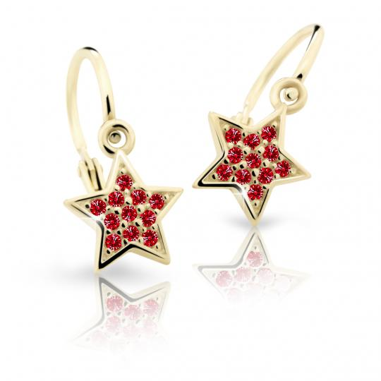 Baby earrings Danfil Stars C2228 Yellow gold, Ruby Dark, Front backs