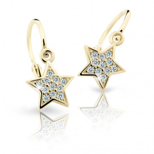 Baby earrings Danfil Stars C2228 Yellow gold, White, Front backs