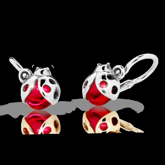 Baby earrings Ladybug Danfil C2008 White gold, Ruby Dark, Front backs