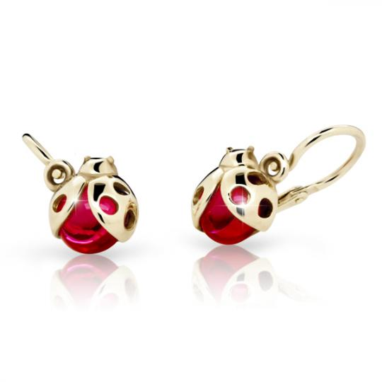 Baby earrings Ladybug Danfil C2008 Yellow gold, Ruby Dark, Front backs
