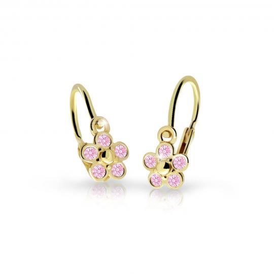 Baby Ohrringe Danfil Flower C2744 Gelbgold mit rosa Strasssteinen