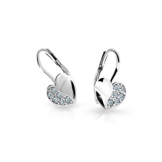 Baby Ohrringe Danfil Hearts C2160 Weißgold mit weißen Strasssteinen