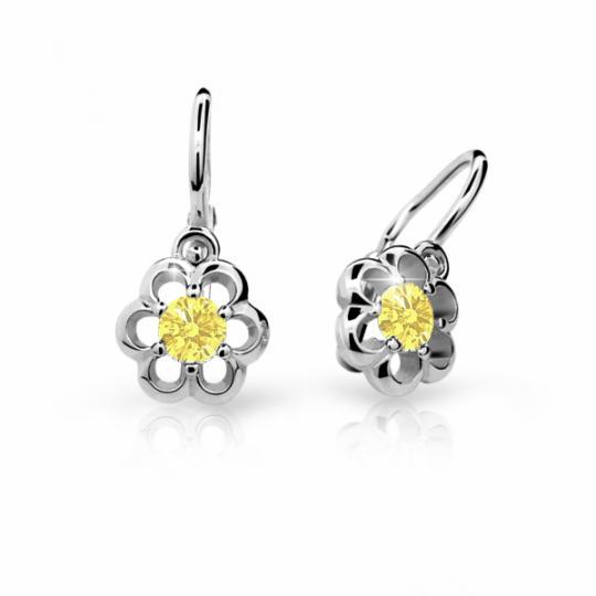 Babyohrringe Danfil C1947 Blumensträußenen Weißgold, Yellow, Die Brisur