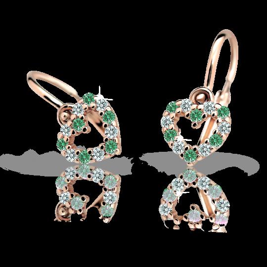 Babyohrringe Danfil C2157 Herzchen Rosagold, Emerald Green, Die Brisur