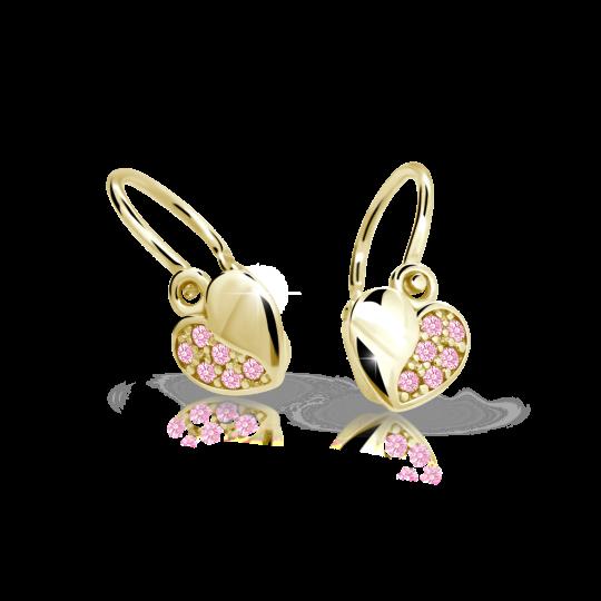 Babyohrringe Danfil Hearts C2160 Gelbgold mit rosa Strasssteinen