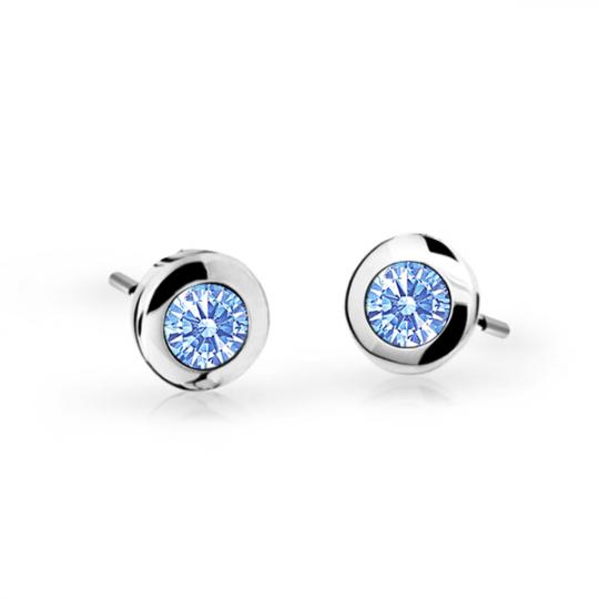 Children's earrings Danfil C1537 White gold, Arctic Blue, Screw backs