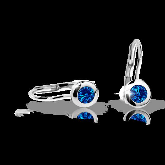 Children's earrings Danfil C1537 White gold, Dark Blue, Leverbacks