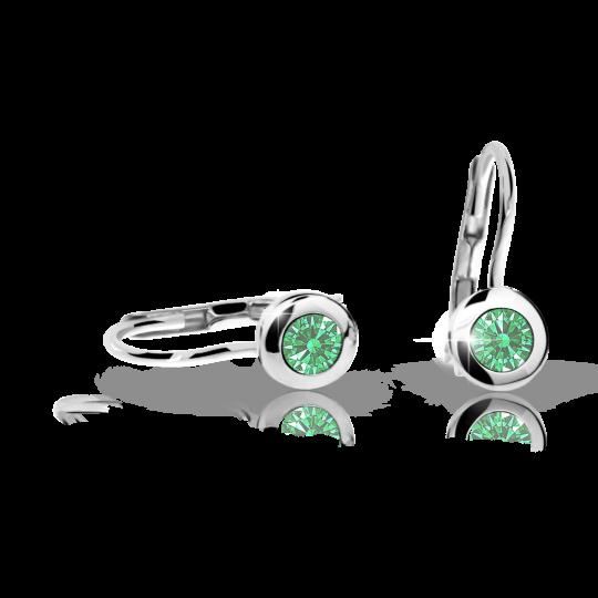 Children's earrings Danfil C1537 White gold, Emerald Green, Leverbacks