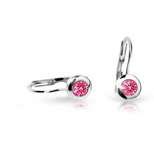 Children's earrings Danfil C1537 White gold, Tcf Red, Leverbacks