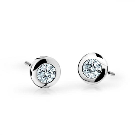 Children's earrings Danfil C1537 White gold, White, Screw backs