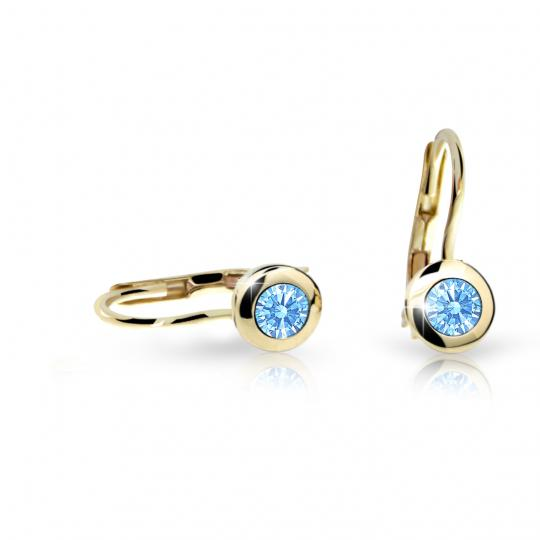 Children's earrings Danfil C1537 Yellow gold, Arctic Blue, Leverbacks