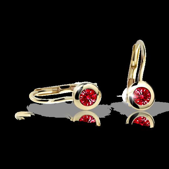 Children's earrings Danfil C1537 Yellow gold, Ruby Dark, Leverbacks