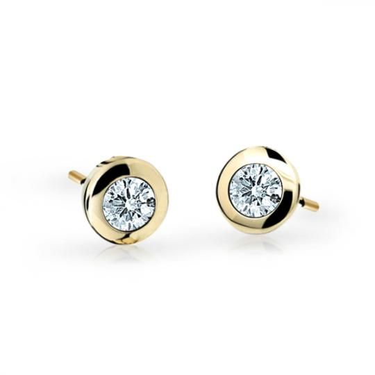 Children's earrings Danfil C1537 Yellow gold, White, Screw backs