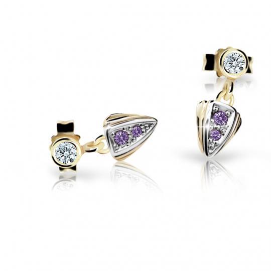Children's earrings Danfil C1899 Yellow gold, Amethyst, Butterfly backs