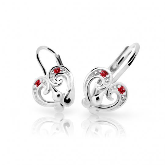 Children's earrings Danfil C2211 White gold, Ruby Dark, Leverbacks