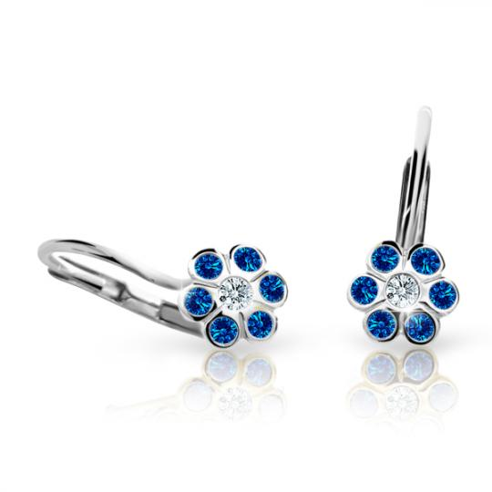 Children's earrings Danfil Flowers C1737 White gold, Dark Blue, Leverbacks