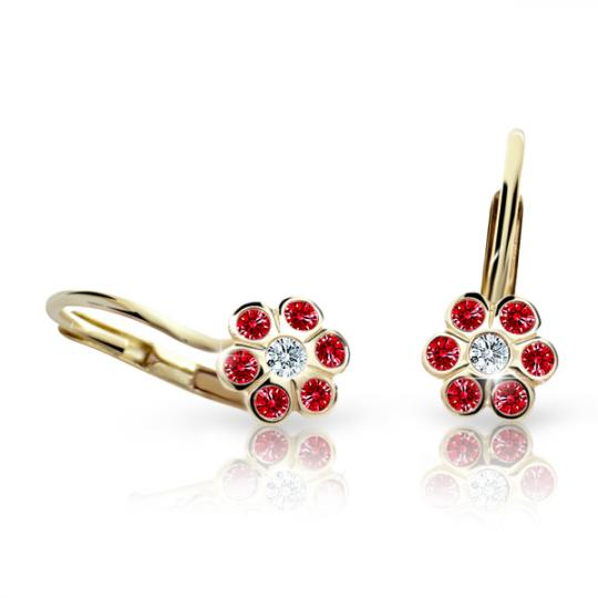 Children's earrings Danfil Flowers C1737 Yellow gold, Ruby Dark, Leverbacks