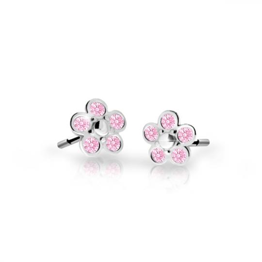 Children's earrings Danfil Flowers C2744 White gold, Pink, Screw backs