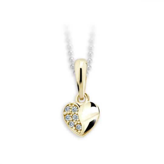 Childrens Danfil Heart Pendant C2160 Yellow Gold with White Zircons