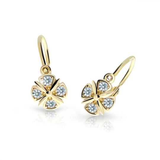 Childrens Earrings C2245 Yellow Gold with White Rhinestones