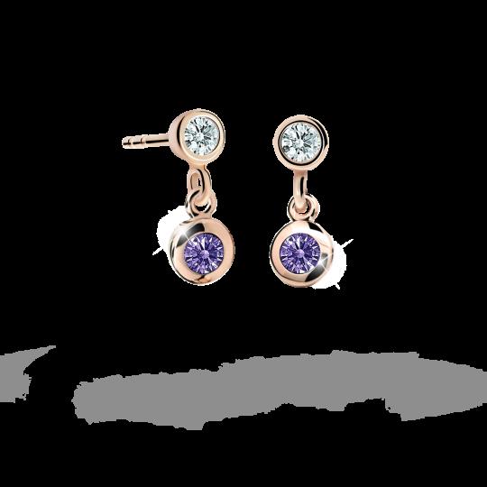 Children's earrings Danfil C1537 Rose gold, Amethyst, Butterfly backs
