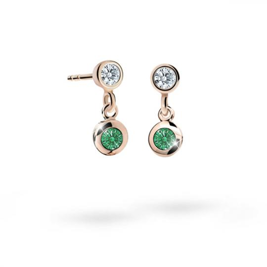 Children's earrings Danfil C1537 Rose gold, Emerald Green, Butterfly backs