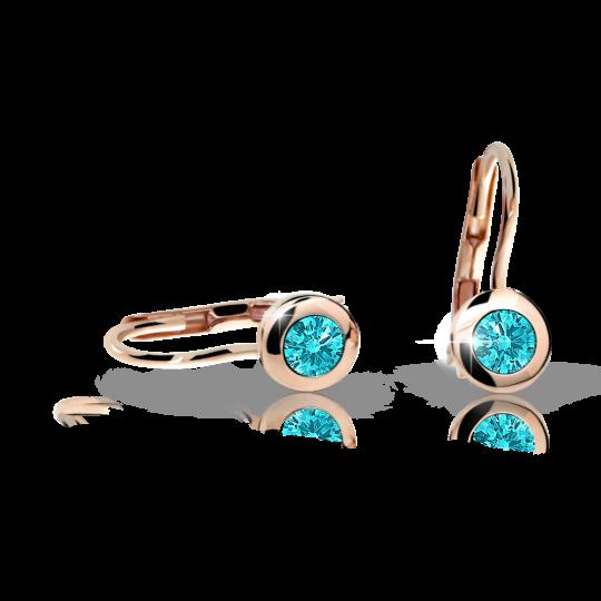 Children's earrings Danfil C1537 Rose gold, Mint Green, Leverbacks