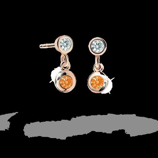 Children's earrings Danfil C1537 Rose gold, Orange, Butterfly backs