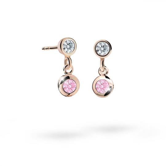 Children's earrings Danfil C1537 Rose gold, Pink, Butterfly backs