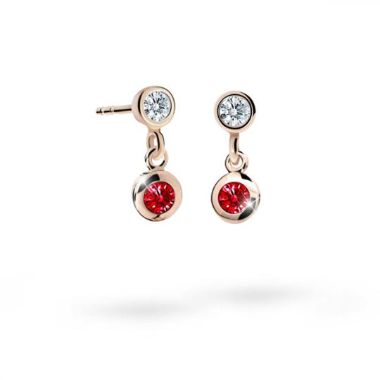 Children's earrings Danfil C1537 Rose gold, Ruby Dark, Butterfly backs