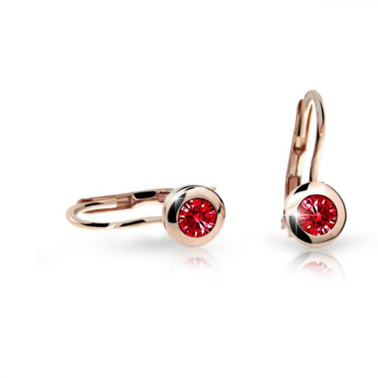 Children's earrings Danfil C1537 Rose gold, Ruby Dark, Leverbacks