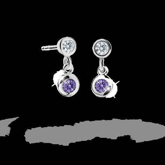 Children's earrings Danfil C1537 White gold, Amethyst, Butterfly backs