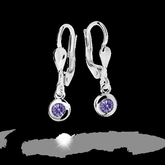 Children's earrings Danfil C1537 White gold, Amethyst, Leverbacks