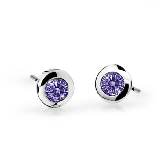 Children's earrings Danfil C1537 White gold, Amethyst, Screw backs