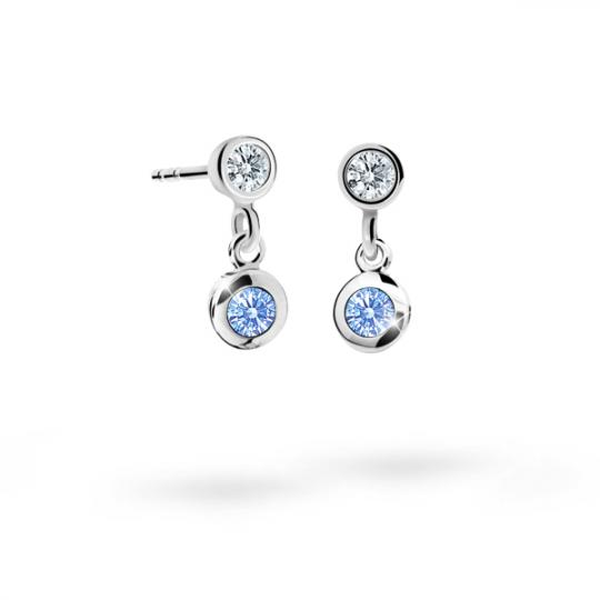 Children's earrings Danfil C1537 White gold, Arctic Blue, Butterfly backs
