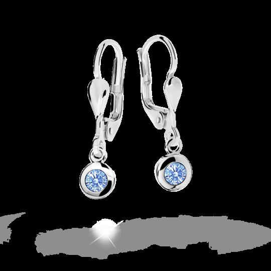 Children's earrings Danfil C1537 White gold, Arctic Blue, Leverbacks
