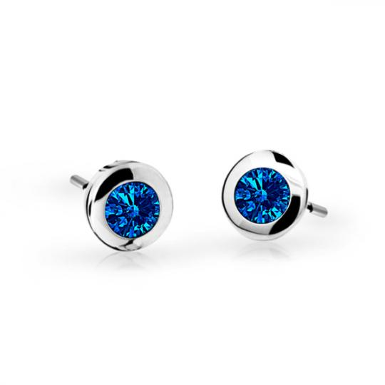 Children's earrings Danfil C1537 White gold, Dark Blue, Butterfly backs